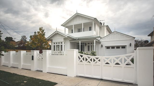 Our Hamptons style dream home at the beach - loving the fence and gate