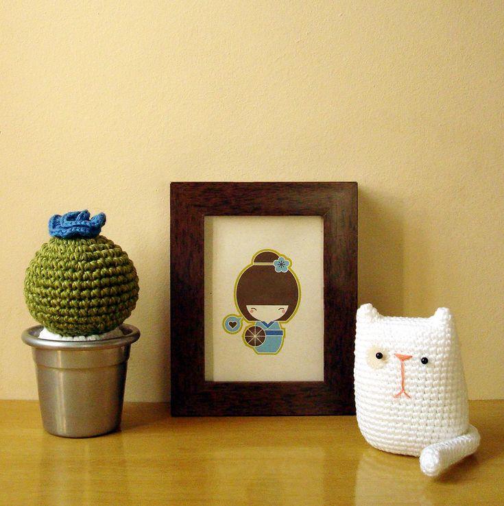 Cactus *maceta de metal*: Crochet Knitting, Crochet Ideas, Cat, Knit Crochet, Kawaii Amigurumi, Amigurumi Ideas, Kitty, Photo