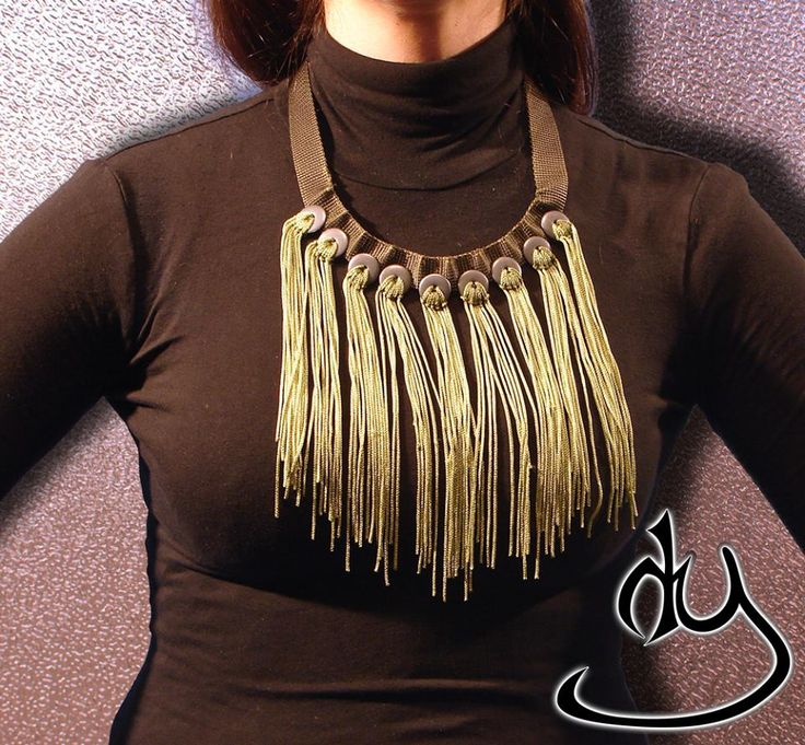 Army Style statement necklace with beautyful long rayon fringe and metal details. From our ARMY COLLECTION
