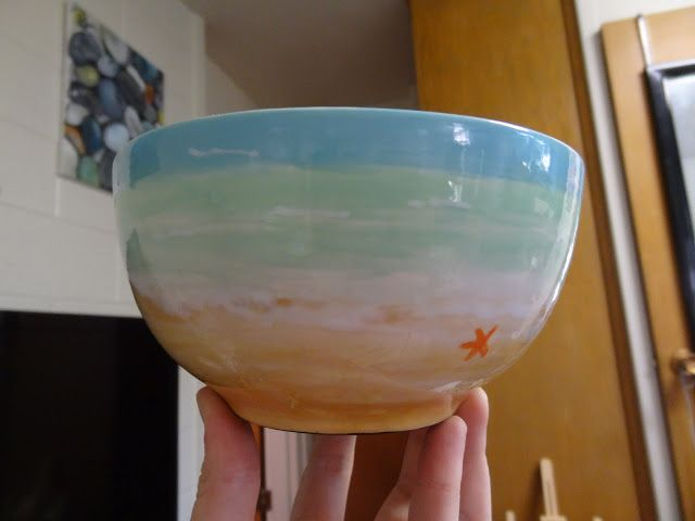 Fun pottery painting date! Creativity Studio in Orem, Utah! This is my ocean-themed bowl http://lilgunnellfam.blogspot.com/2013/06/the-results-of-our-pottery-date.html