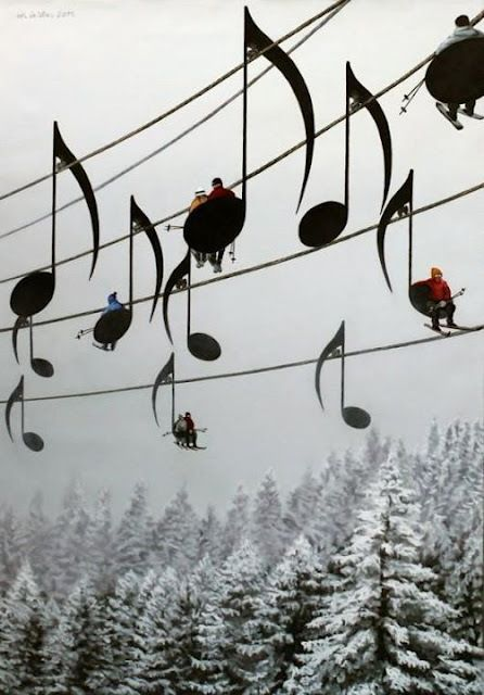 Snow, mountains, pine trees, music and skiing ~ do what you love!