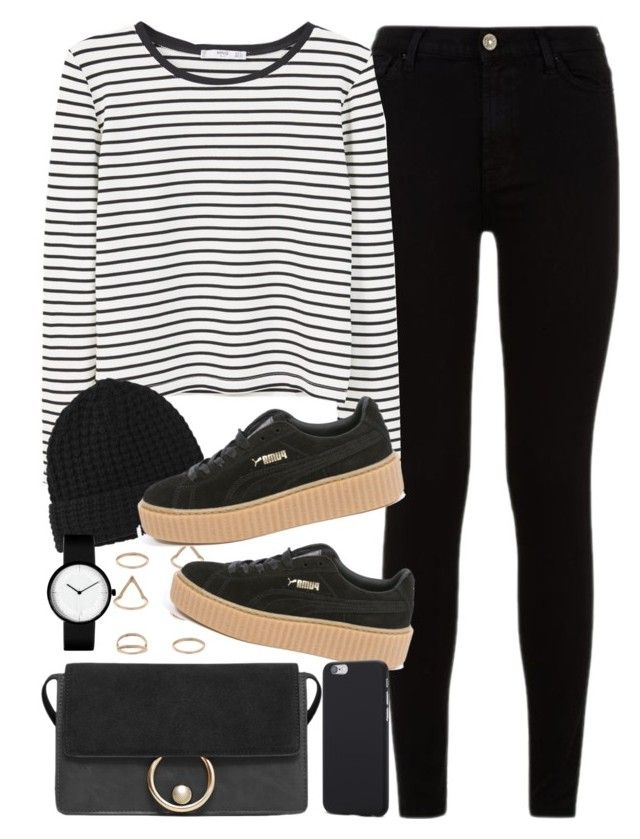 outfit for university with puma creepers by ferned on Polyvore featuring MANGO, 7 For All Mankind, Puma, Miss Selfridge and Acne Studios