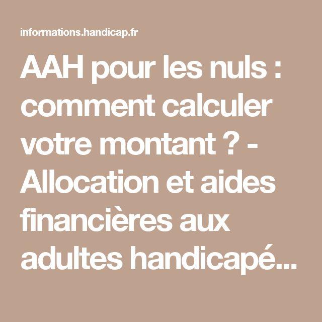 AAH pour les nuls : comment calculer votre montant ? - Allocation et aides financières aux adultes handicapés (7202)
