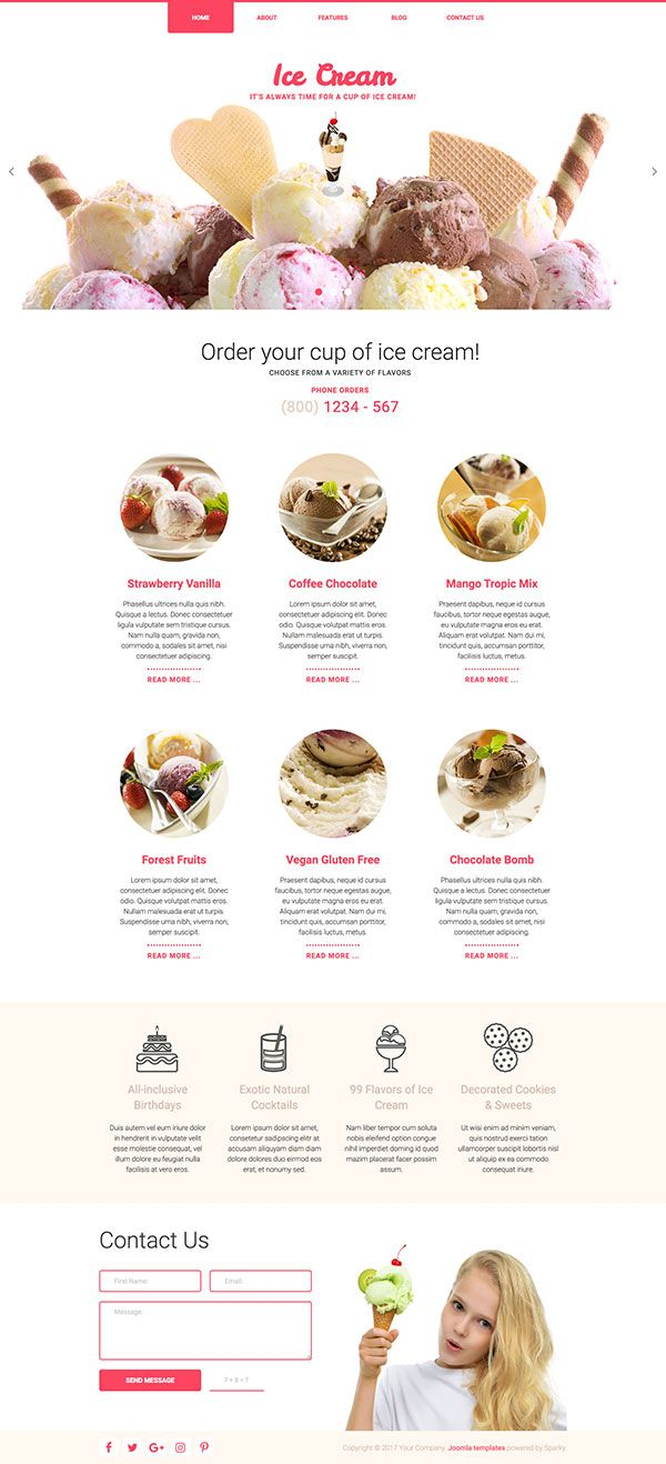 Hot Joomla Templates - Ice Cream Joomla Template -- Template for websites of the ice cream producers, ice cream shops and delivery services and confectioners.