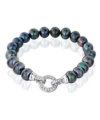 Take a look at this Black Pearl & Crystal Ella Bracelet by Vogue Pearl on #zulily today!