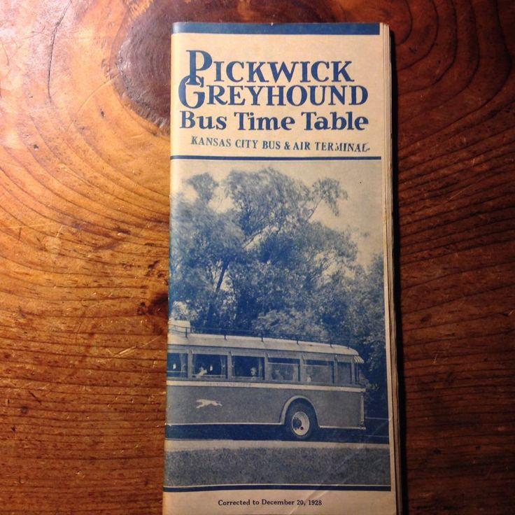 1928 PICKWICK GREYHOUND BUS TIME TABLE KANSAS CITY BUS AIR TERMINAL UNION DEPOT