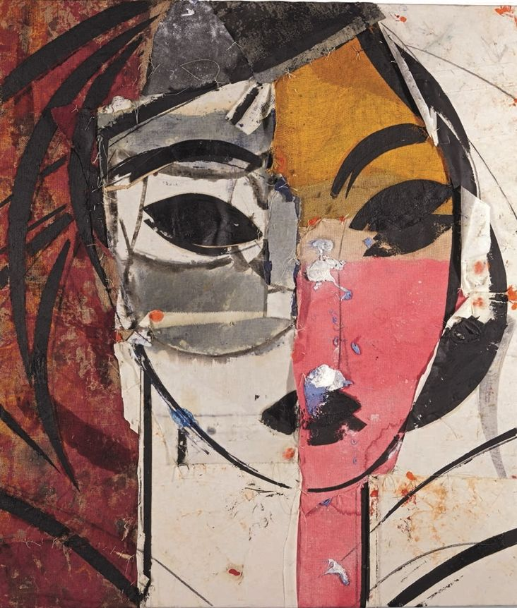 Manolo Valdes (Spain b. 1942) Retrato de Mujer (2003)oil and fabric collage on…