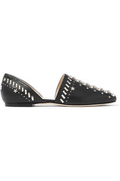 Jimmy Choo - Globe Studded Leather Flats - Black - IT37.5