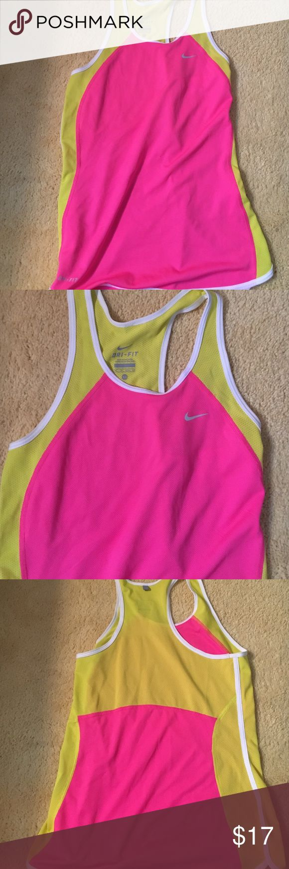 Nike razorback tank This is a nike dry fit razorback tank. It is highlighter pink and yellow. Only worn once! Nike Tops Tank Tops