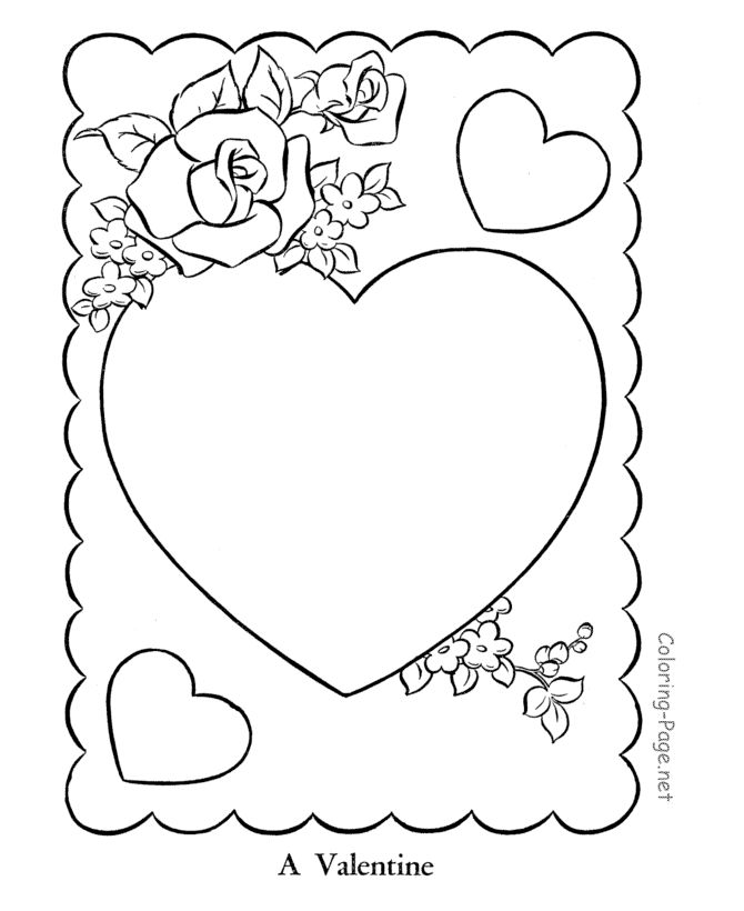 Valentines Day Cards Coloring Pages Hearts And Roses Valentine Card Page Sheets Cutout