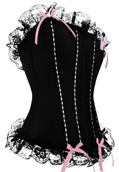 Sexy Lady Lingerie Steel Boned Corset 2158 Black Gothic Corset Sexy Women Lace Top bustier corset