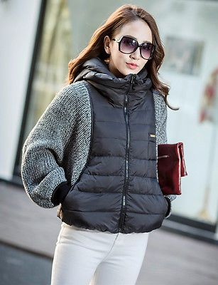 2016 дамы зимняя верхняя одежда трикотаж летучая мышь рукав короткий утка вниз шляпа Куртка Пальто