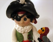 *POLYMER CLAY ~ Boy Pirate,  Pirate with Parrot, Cake Topper, Pirate Cake Topper