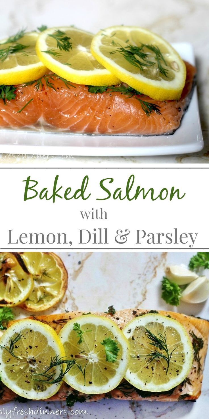 Baked Salmon with Lemon, Dill & Parsley | Simply Fresh Dinners/ @simplyfresh