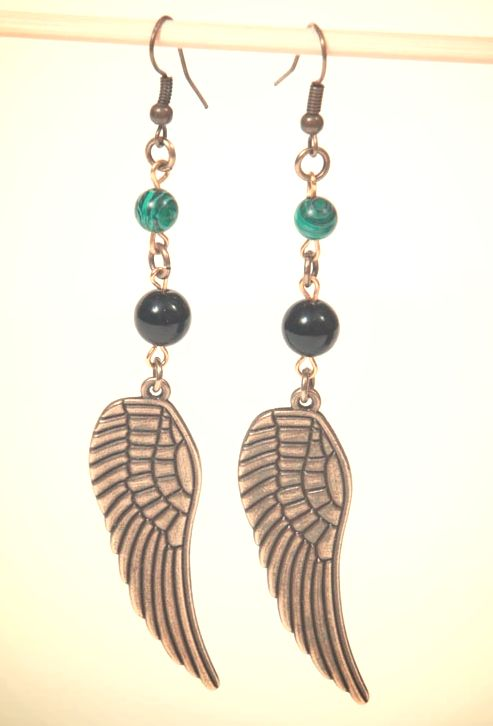 Bronze feather boho earrings with semi precious stones