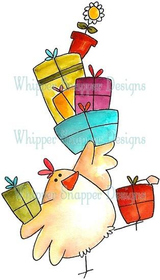 dibujo gallina con regalos