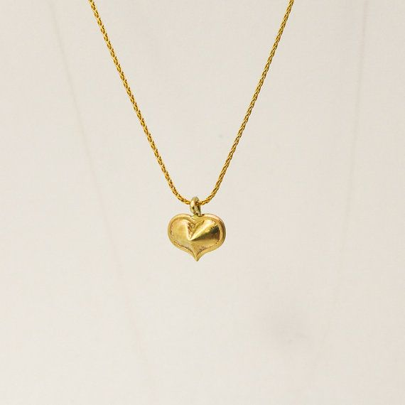 Gold heart pendant necklace Heart charm pendant by noafinejewelry
