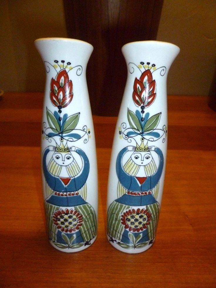 Figgjo Flint Norway Saga Norsk Pair of 2 Queen Slim Vases | eBay