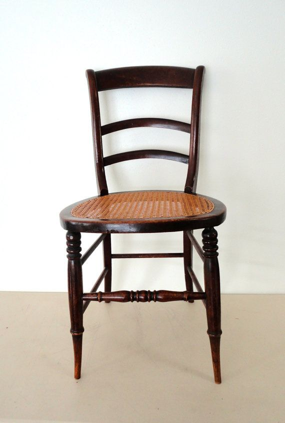 Reserved For Janet Antique Wooden Chair, Caned Seat Spindled Chair With A Wicker  Seat