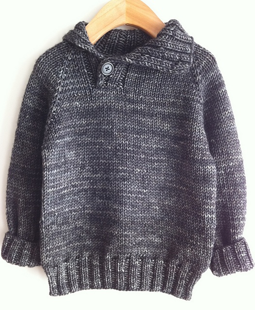 """Caelum"" pattern by Julie Kieliszewski knit by knitwee. This is a great pattern for a little boy handknit."