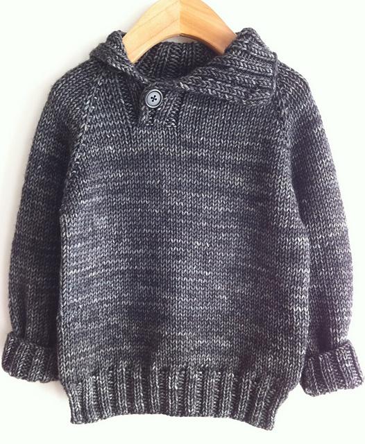"""Caelum"" pattern by Julie Kieliszewski knit by knitwee. This is a great pattern for a little boy handknit."