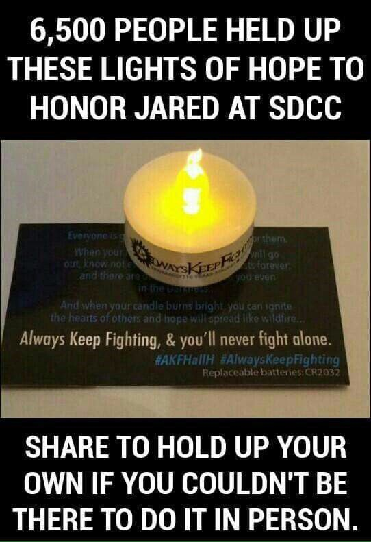 I hold this up for Jared and also for myself because I've battled through suicidal thoughts and depression. I also hold it for all of those you have passed away due to suicide or depression. Keep Fighting.