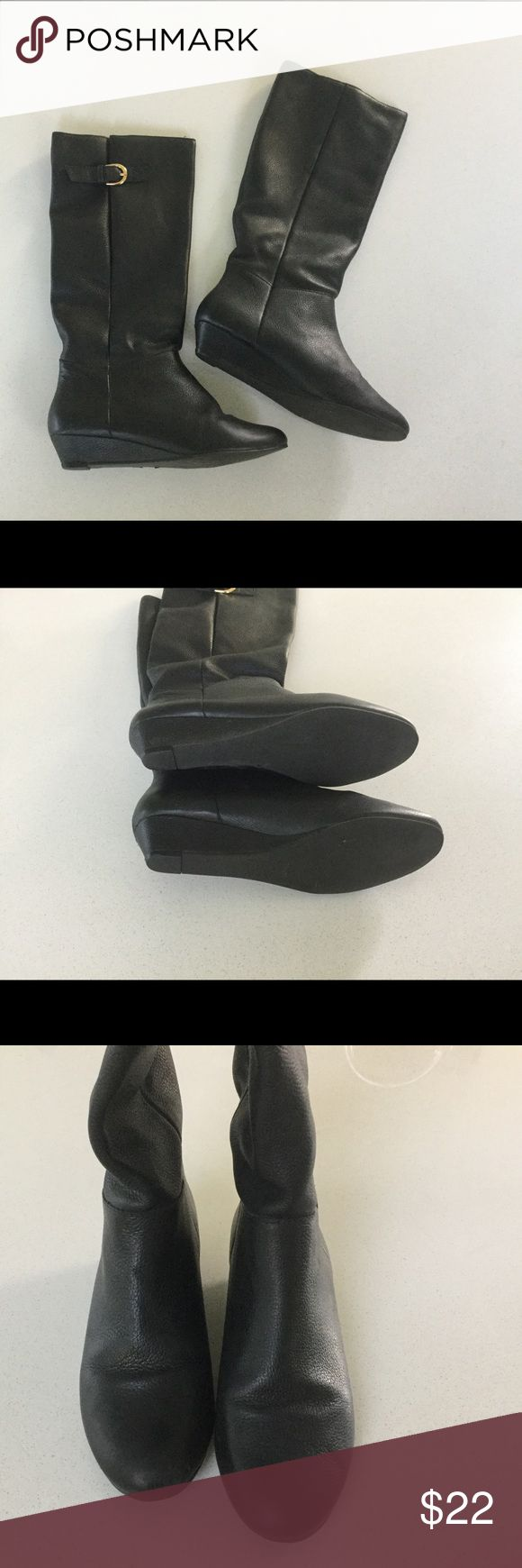 """Steve Madden Black Leather Intyce boots SZ 7 Steve Madden """"Intyce"""" black leather boots in women's size 7.  Small heel and adjustable gold buckle detail.  These are in excellent condition with minimal wear on the soles and no other visible wear, no flaws. Steve Madden Shoes Heeled Boots"""