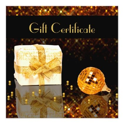 Sparkling Gold Christmas Voucher Gift Certificate Card - christmas cards merry xmas family party holidays cyo diy greeting card