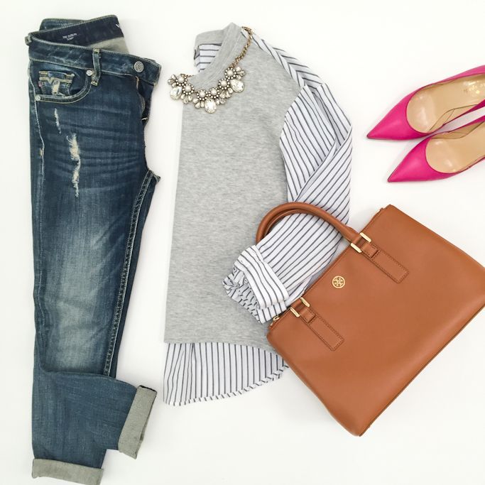 Outfit Layout: distressed denim and two in one striped shirt