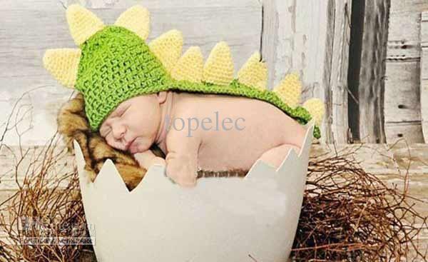 neue ankunft handmade kinder hat neugeborenen baby beanie häkeln, kleinkind, gestrickte dinosaurier hut fotografie