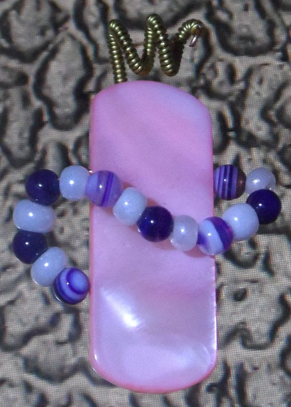 Charmng pink shell pendant with purple agate by UniqueFantasies