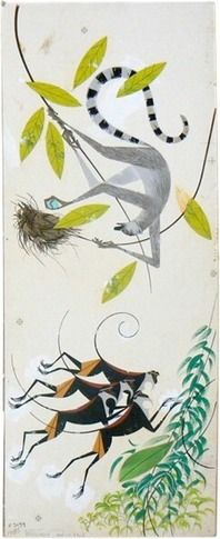 Ringtailed Lemur and Roloway Monkeys by Charley Harper, The Giant Golden Book of Biology, 1961.