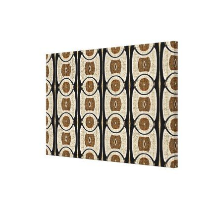 Taupe Beige Coffee Brown Black Bali Batik Pattern Canvas Print - stylish gifts unique cool diy customize