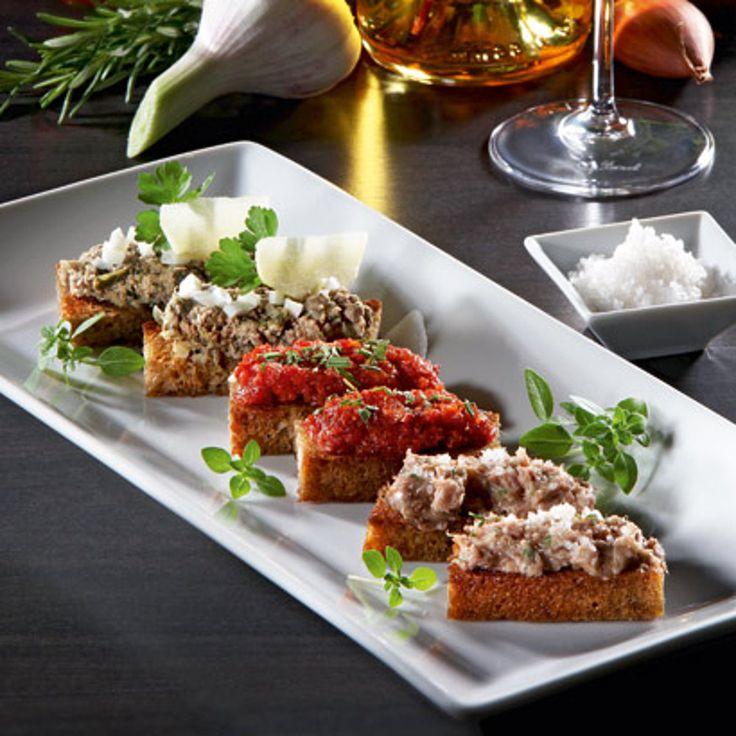 Fingerfood mit Geflügelleber, Gänse-Rillettes, Sobrasada Creme