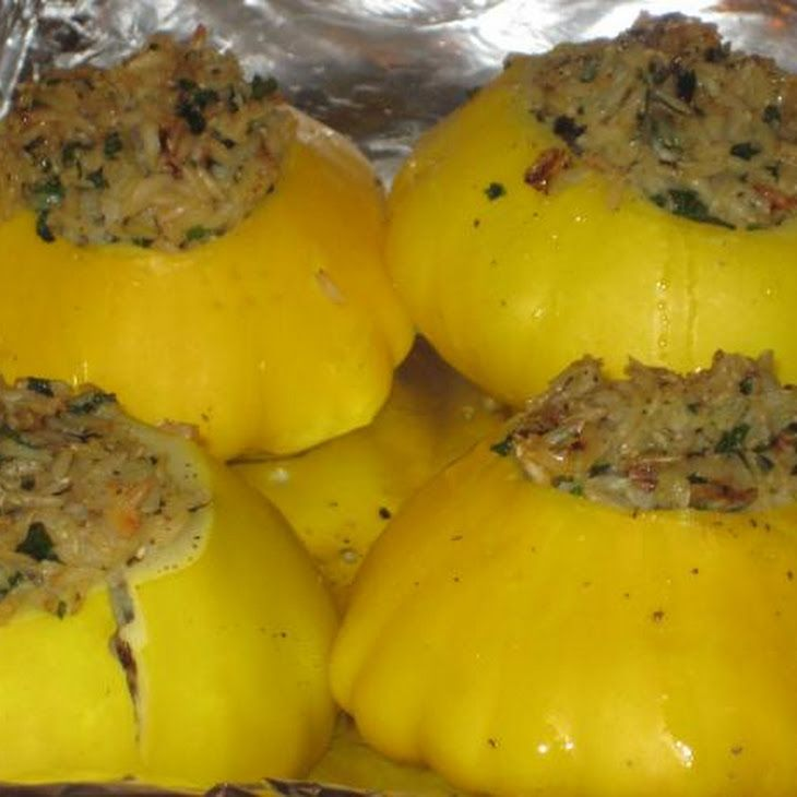 Rice Stuffed Sunburst / Patty Pan Summer Squash Recipe