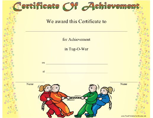 This Tug-o-War Achievement certificate features two teams working against each other in a tug-o-war contest. Ideal for camp or any tug-o-war setting. Free to download and print
