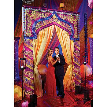 This India Entrance features an intricately detailed Asian archway in bright colors of purple, pink, orange & yellow. Each archway measures 10 ft high x 6 1/2 ft wide x 1 ft deep.