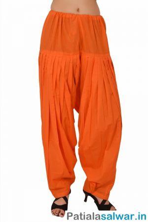 Orange Plain Patiala Salwar