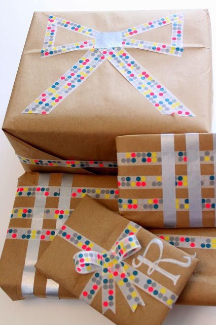 DIY Christmas wrapping paper with washi tape. Christmas washi tape gift wrap for the holidays  - brown paper wrapping