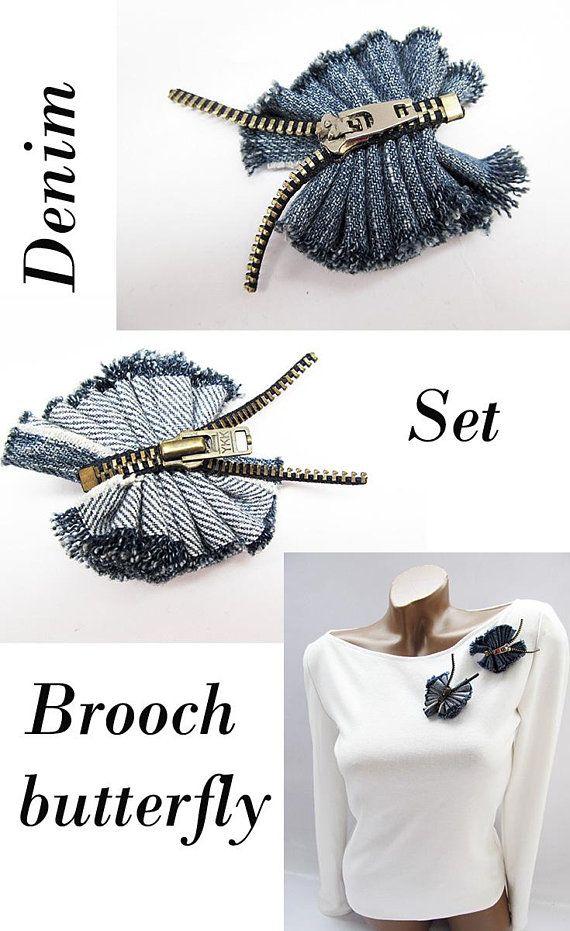 Set Denim brooch butterfly Denim jewelry Zipper jewelry Zipper butterfly Jeans brooch Denim Blue fabric brooch Jeans Jewelry recycled denim