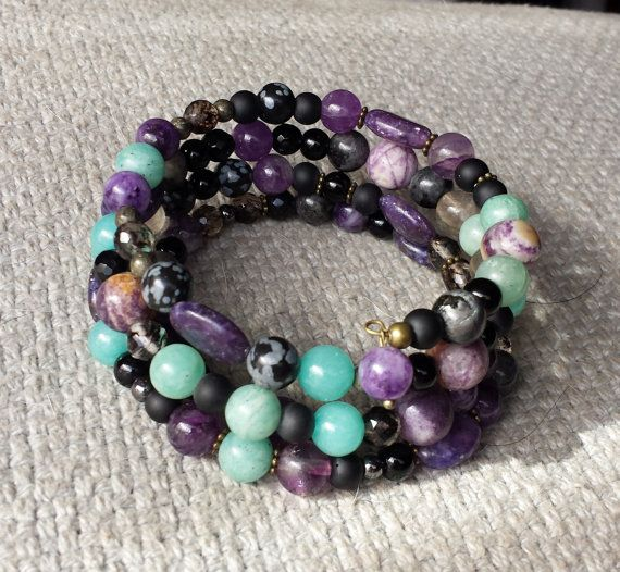 Semiprecious gemstone memory wire bracelet by BeanCreationsbyGill, $33.00