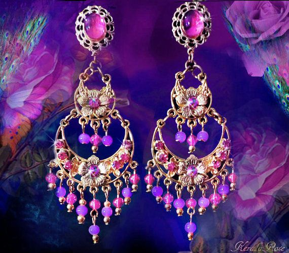 2 rosa orquídea nivel pendientes de la lámpara de oro o por kerala