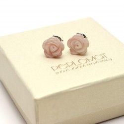 Stříbrné náušnice z perleti, růžičky růžové, pecky, Ag 925 za 699 Kč - PERLEŤ A MUŠLOVINA