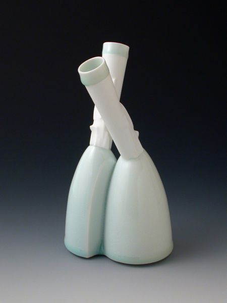 Trudy Golley, Double Vase (#9), 2010, slip-cast and assembled glazed porcelain.