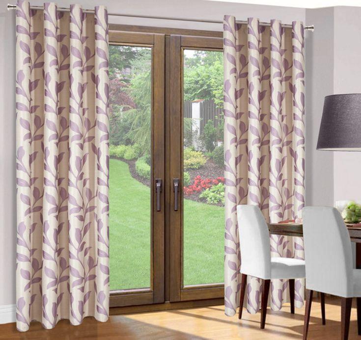 Zasłona kremowa na okno z liliowym wzorem