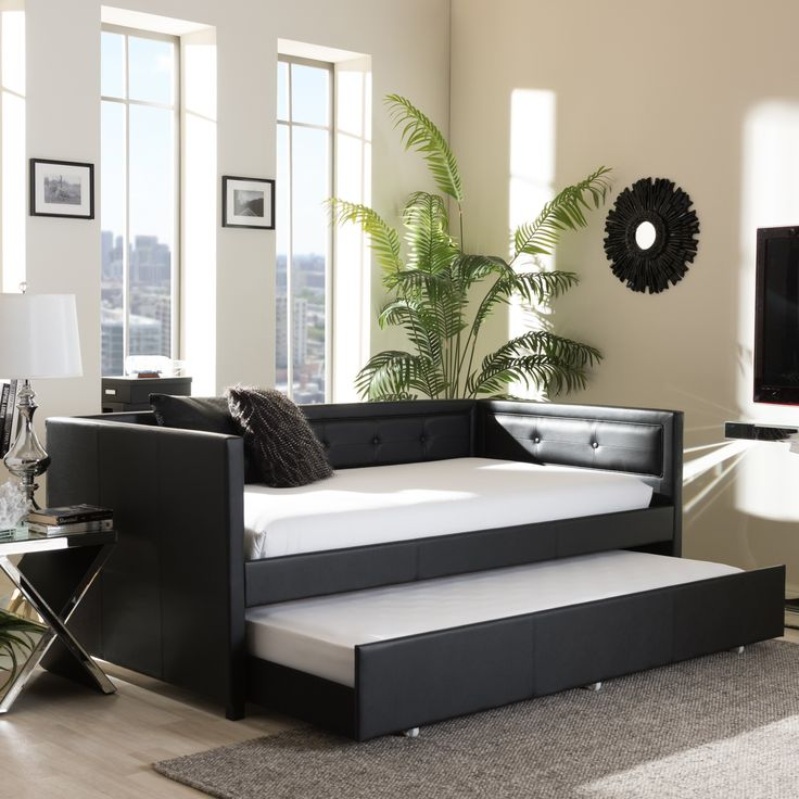 Best Baxton Studio Faux Leather Button Tufted Daybed With 400 x 300