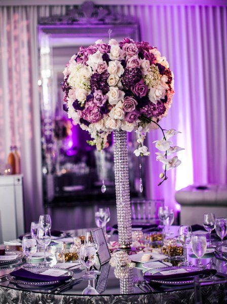 Classic Formal Hip Hollywood Glam Romantic Purple Silver White Ballroom  California Centerpieces Fall Indoor Reception Outdoor