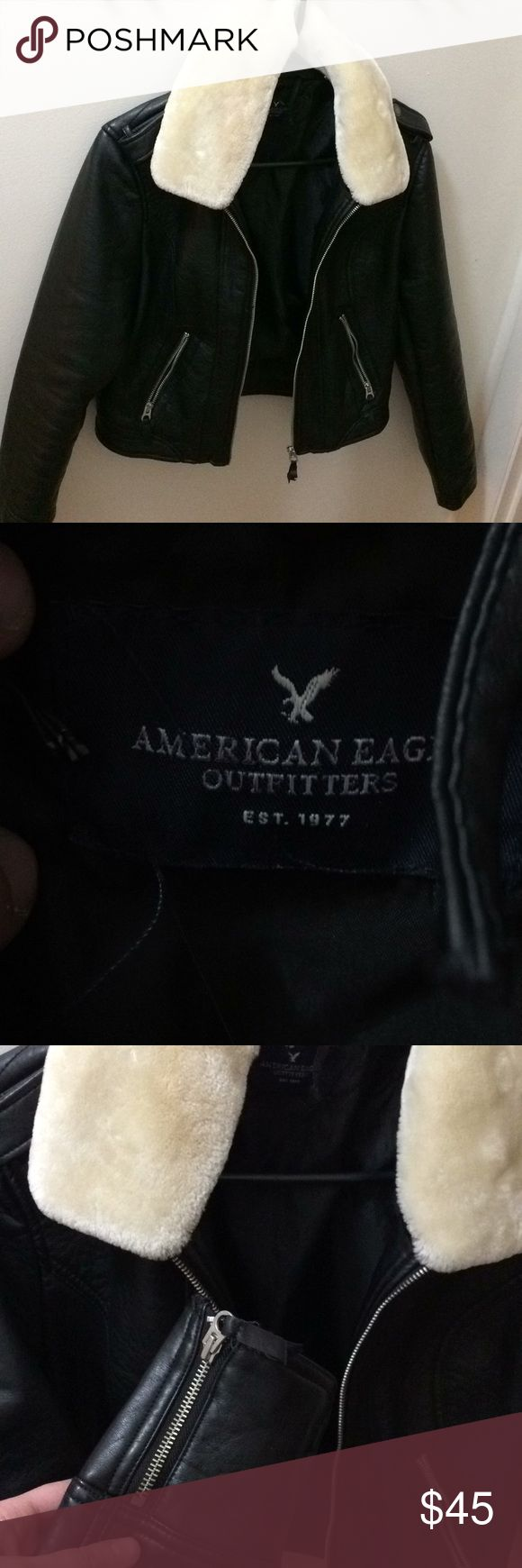 Badass American Eagle faux leather jacket moto Moto faux leather jacket. Made by American eagle. Perfect condition, except for a couple of the elastics that button the collar snapped. Easy fix. Size medium. Good quality, feels durable. Faux fur collar. American Eagle Outfitters Jackets & Coats Utility Jackets