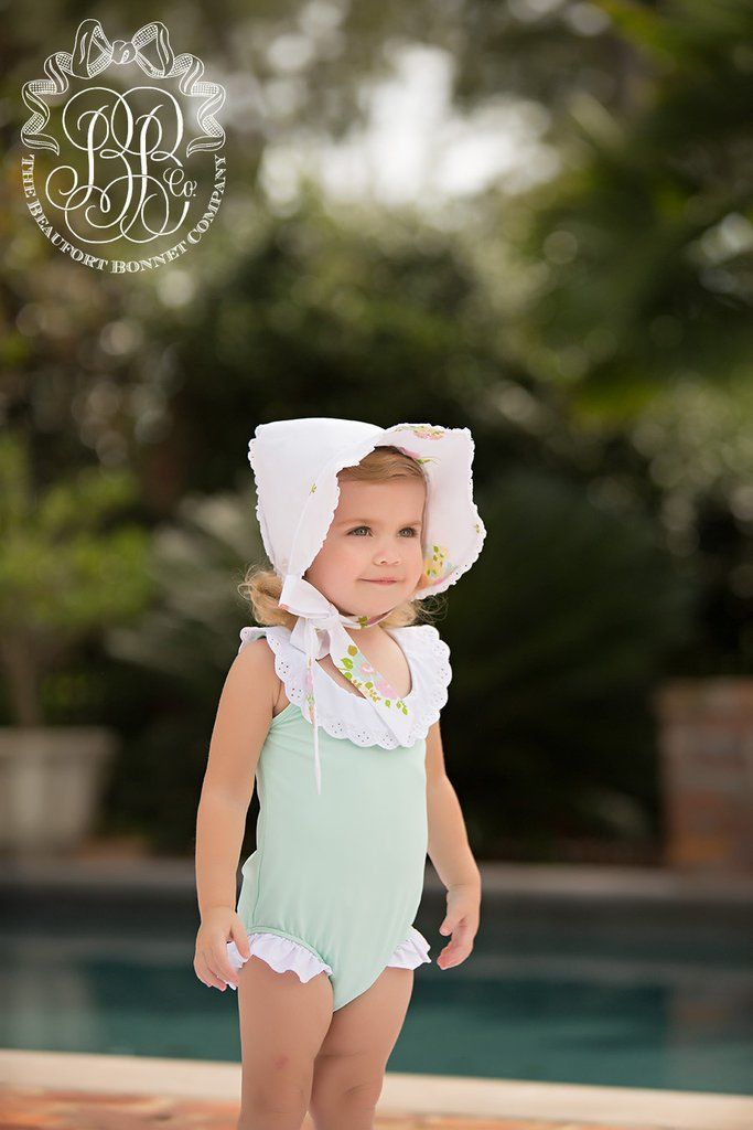 Water Sand Swimsuit - Sea Island Seafoam with Worth Avenue White | The Beaufort Bonnet Company