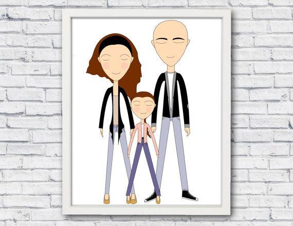Custom portrait custom family portrait family by catbrush on Etsy